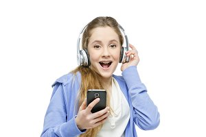 Teen age girl with headphones