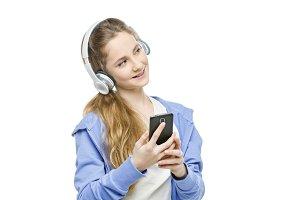 Teen age girl with headphones