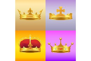 Gold Kings Medieval Crowns in Several Designs Set