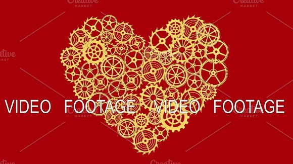 Heart With Gears On Red