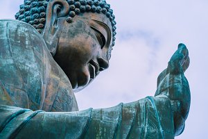 Tian Tan Buddha with details of hand - The worlds's tallest outdoor seated bronze Buddha located in Lantau Island, Hong Kong, China