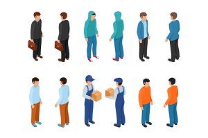 Isometric creative people set