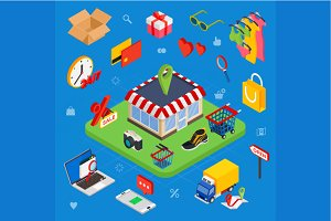 Isometric e-commerce concept