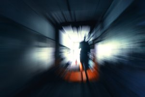 Horizontal vivid stalker exploring the tunnels motion abstractio