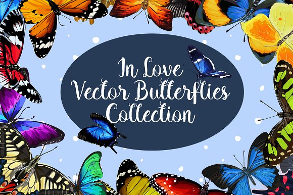 In Love 20 Vector Butterflies Set