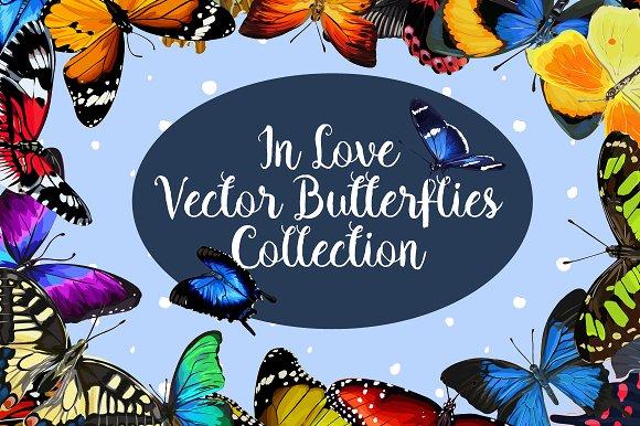 In Love 20 Vector Butterflies Set