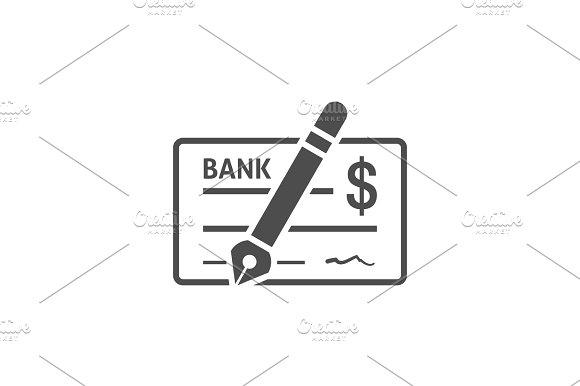 Bank Check Icon Flat