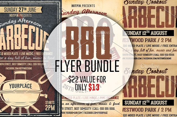 Barbecue-BBQ Flyer Template Bundle - Flyers
