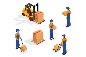 Forklift Truck With Delivery Workers