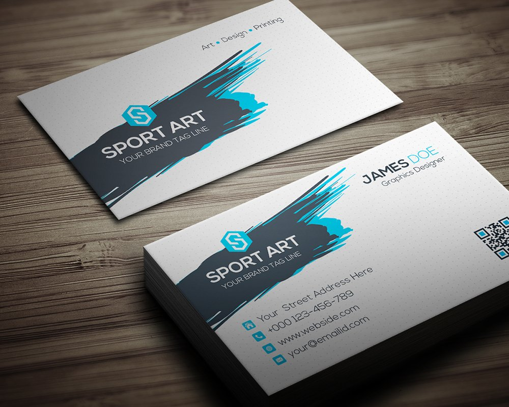 Sport art business card business card templates creative market colourmoves Image collections