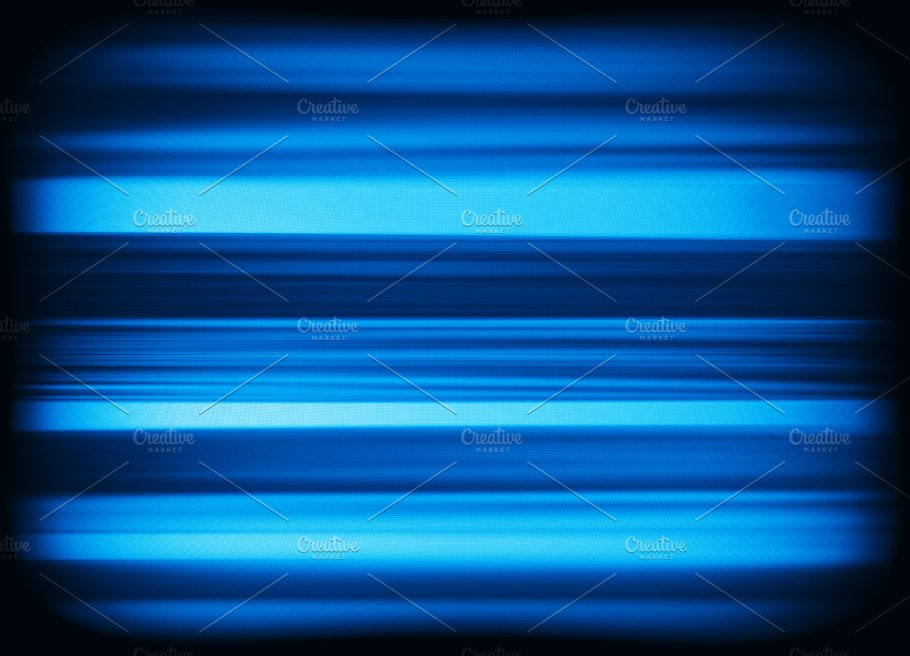 Horizontal vivid blue interlaced tv static noise lines abstracti