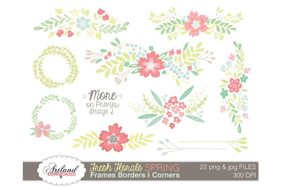 Floral Vine Digital Paper Brights Custom Designed Graphic Patterns Creative Market