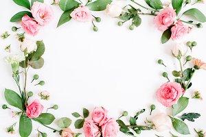 Floral frame of pink roses