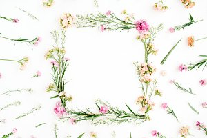 Floral frame of wildflowers