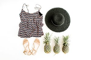 Fashion summer clothes & pineapples