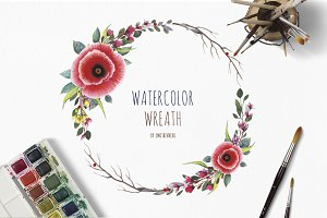 Watercolor wreaths with Poppy