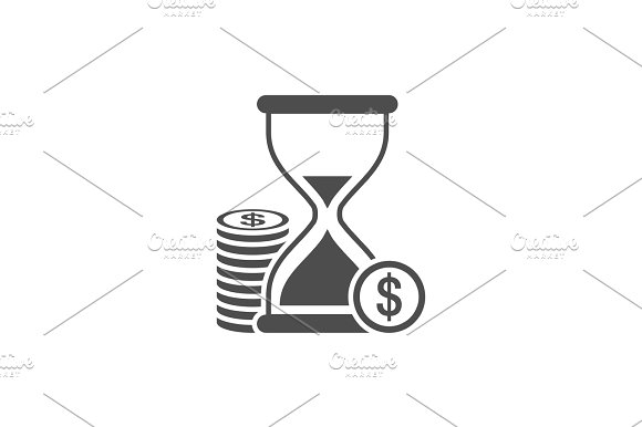 Hourglass With Coins Icon