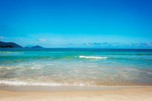 Ocean beach and blue sky in Brazil