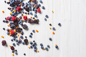 Frozen berries overhead shot