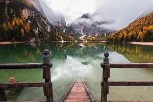 Autumn in the Dolomites by the lake