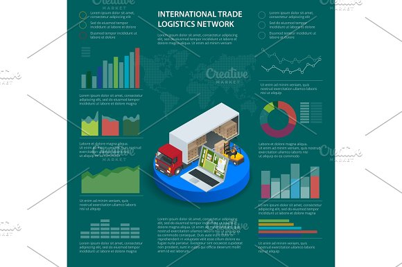 Infographics With Data Icons World Map Charts And Design Elements Of International Trade Logistics Network Infographic Vector Illustration With Isometric Vehicles For Cargo Transport