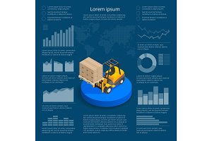 Infographics with data icons, world map charts and design elements of International trade logistics network infographic vector illustration with isometric vehicles for cargo transport