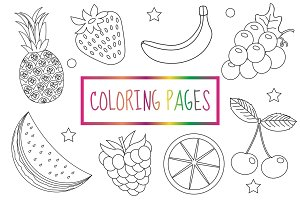 Coloring book page. Fruit set. Sketch, doodle, outline style. Coloring for kids. Childrens education. Vector illustration.