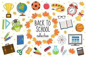 Back to school icon set, flat, cartoon style. Education collection of design elements with stationery, pencil, pen, eraser, globe. Isolated on white background. Vector illustration, clip-art.