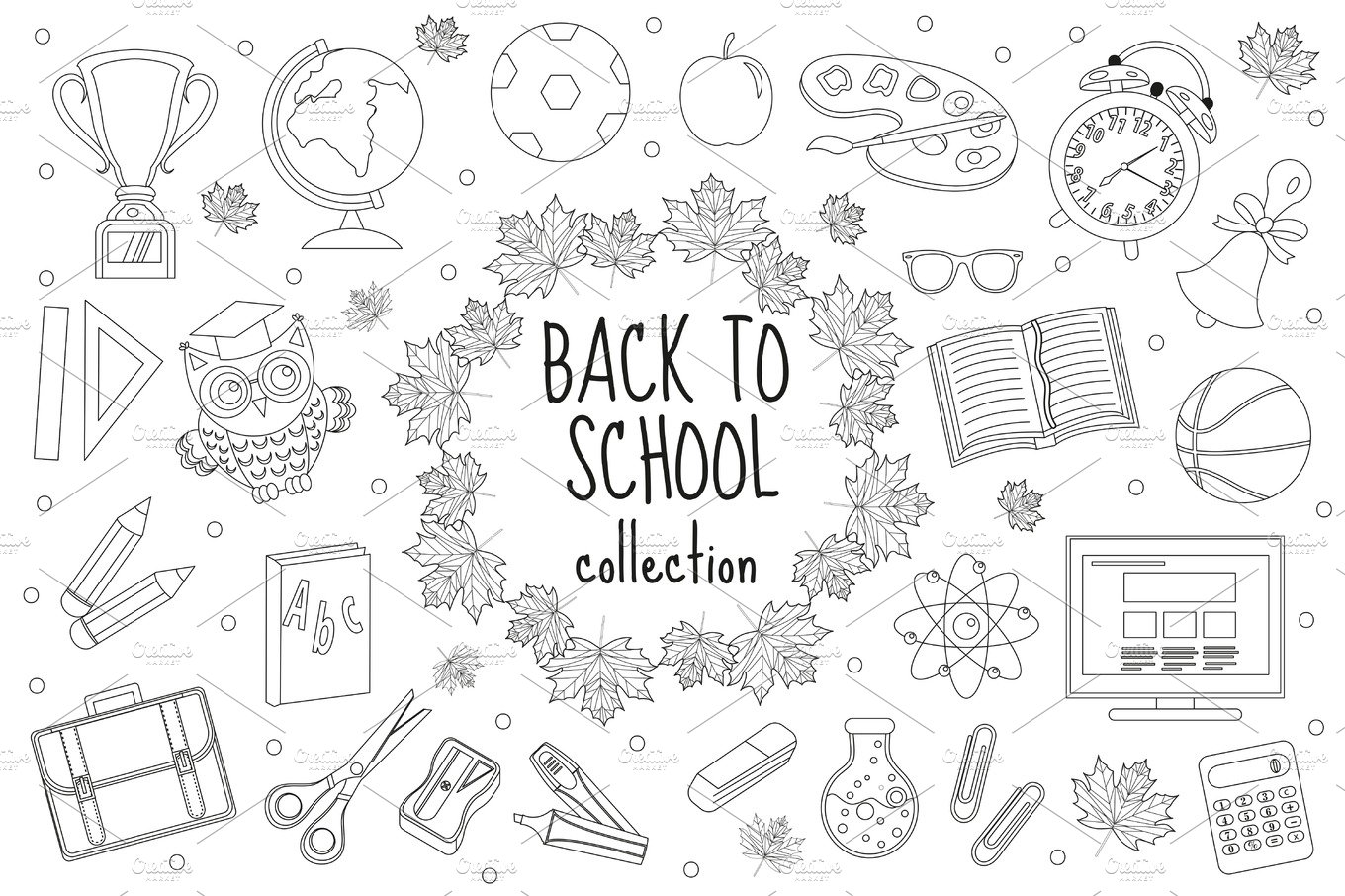 Back to school set of icons, line style. Education