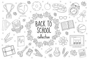 Back to school set of icons, line style. Education collection of doodle design elements, outline. Coloring page for children, kids. Isolated on white background. Vector illustration, clip-art.