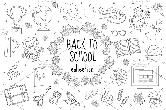 Back To School Set Of Icons Line Style Education Collection Of Doodle Design Elements Outline Coloring Page For Children Kids Isolated On White Background Vector Illustration Clip-art