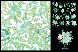 Lilies, seamless pattern, elements