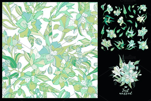 Lilies Seamless Pattern Elements