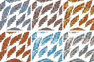 Feathers Bird seamless pattern set. Retro, doodle style. Feather endless background, texture, backdrop. Vector illustration.