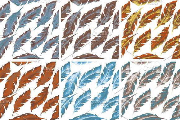 Feathers Bird Seamless Pattern Set Retro Doodle Style Feather Endless Background Texture Backdrop Vector Illustration