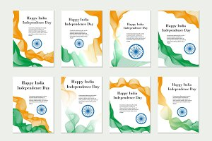 Independence Day India. Set of templates, brochures, flyers for your design in the colors of the national flag of India. Vector illustration.