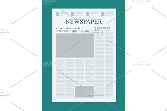Graphical Design Newspaper Template Highlighting Figures And Testimonials Vector Mock Up Of A Blank Daily Newspaper Graphical Design Newspaper Template