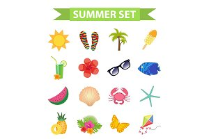 Hello summer icon set, flat, cartoon style. Beach, vacation collection of design elements. Isolated on white background. Vector illustration, clip-art.
