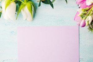 Empty purple card flower tulip rose pastel colors