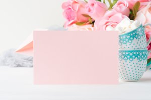 Blank paper pink card Valentine's day invitation
