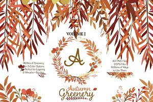 Fall Leaves - Autumn Greenery Vol 1