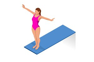 Isometric people diving into water in to the swimming pool, diver. Female swimmer, that jumping and diving into indoor sport swimming pool. Sporty woman.