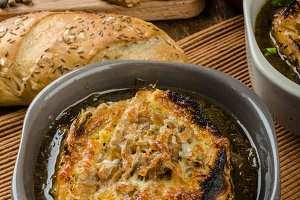 French onion soup with baked toast