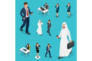 Isometric Business man and woman with phone Young man phoning smart phone with messenger app. Flat illustration of people using gadgets walking