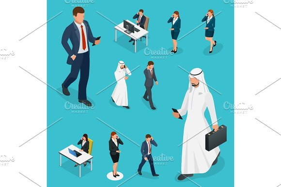 Isometric Business Man And Woman With Phone Young Man Phoning Smart Phone With Messenger App Flat Illustration Of People Using Gadgets Walking