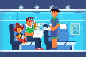 Family Happy on Airplane, Vacations, Holiday, Travel Destination, Journey Trips, Transportation. Vector illustration