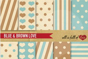 Blue Brown Scrapbooking Pattern