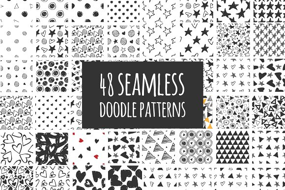40 Doodle Seamless Patterns Graphic Patterns Creative Market Simple Doodle Patterns