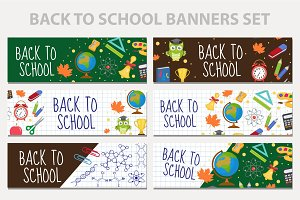 Back to school set of banners, template with space for text for your design. Education collection long board, poster, flyer. Flat style. Vector illustration