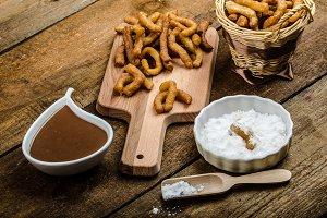 Churros with chocolate dip - Streed food, deep fried